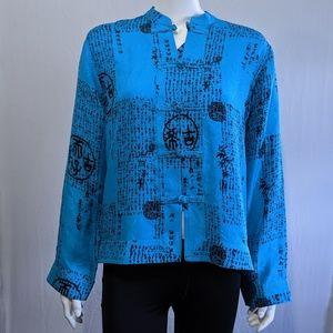 4/25🎃Chico's Design blue oriental style top